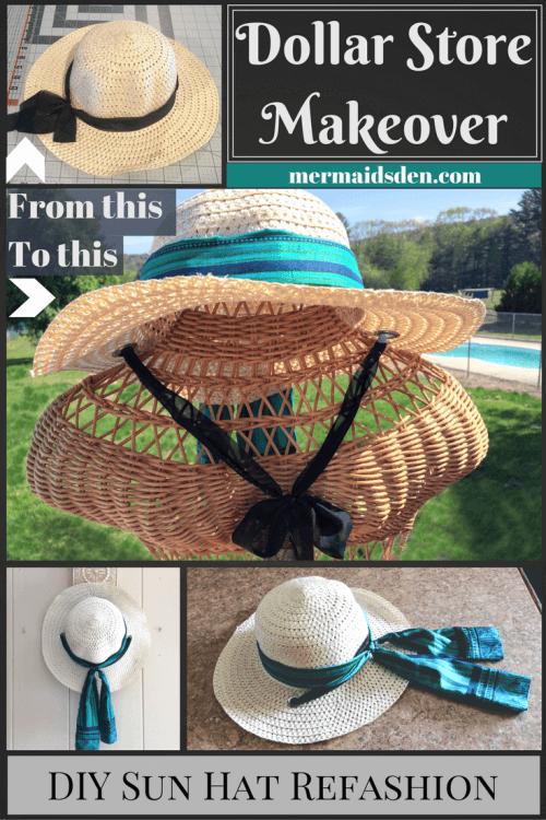 Easy DIY Dollar Store Sun Hat Makeover / Refashion Tutorial: Add a Silk Ribbon and Chin Strap
