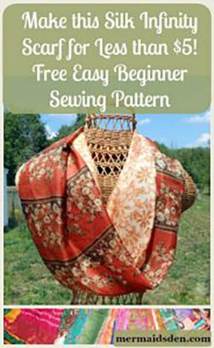 Make this Silk Infinity Scarf for Less than $5! Free Easy Beginner Sewing Pattern