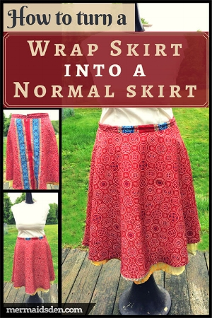 How to turn a wrap skirt into a normal skirt: Refashion tutorial