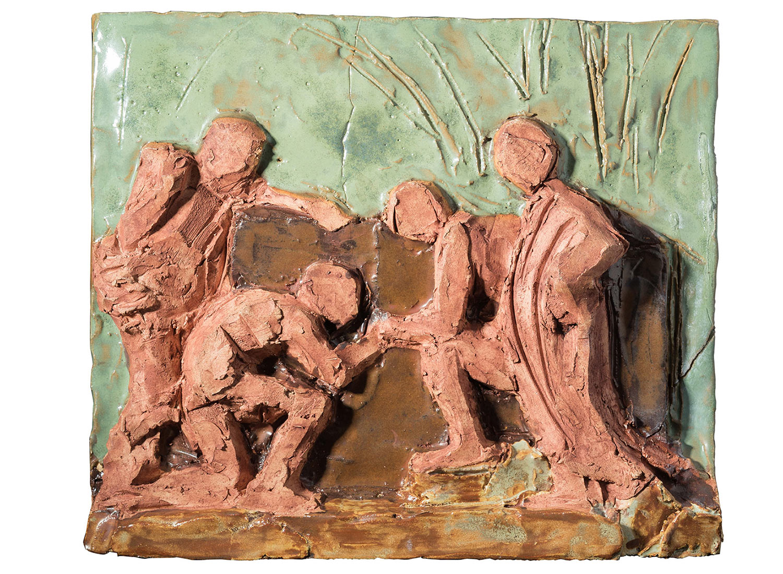 "Arcadian Shepherds (after Poussin), 2017.   Glazed stoneware ceramic, 12"" x 10"""