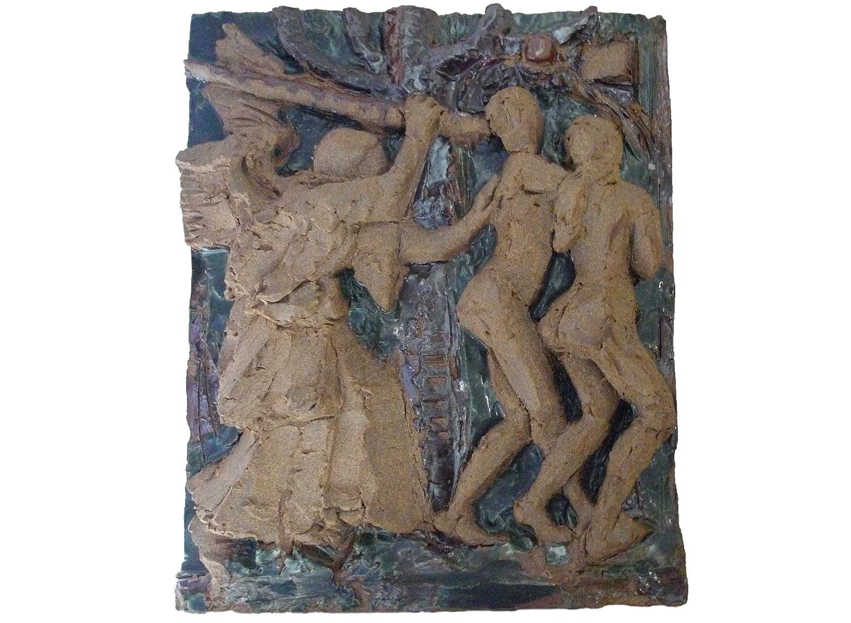 "Flight from Paradise, 2014.   Glazed stoneware ceramic, 14"" x 12"" x 3"""