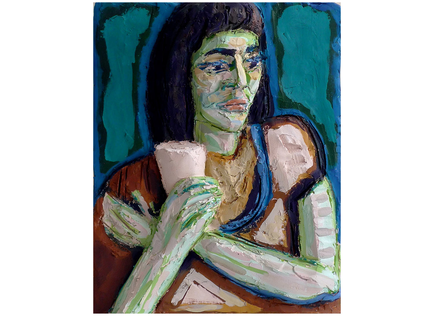 "From a Max Beckmann Drawing, 2010.   Oil on terracotta, 13"" x 16"" x 2.5"""