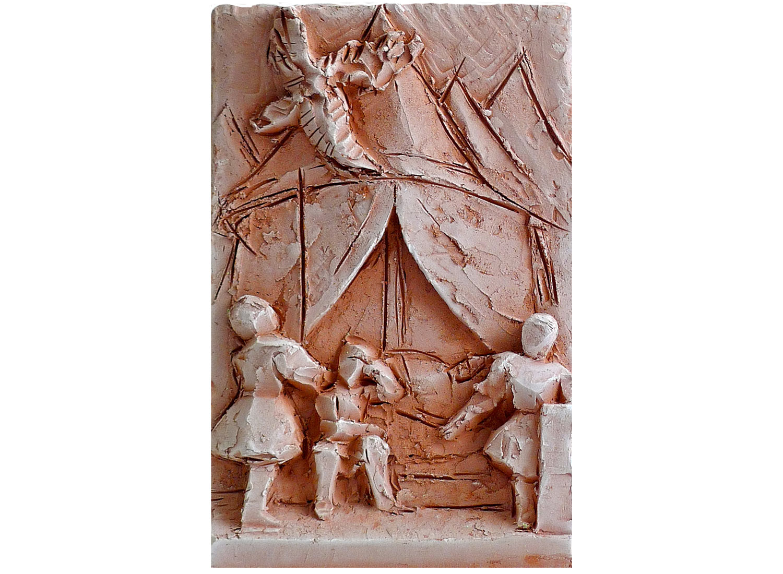 "Constantine's Dream, 2010.   Terracotta, 11"" x 14"" x 3"""