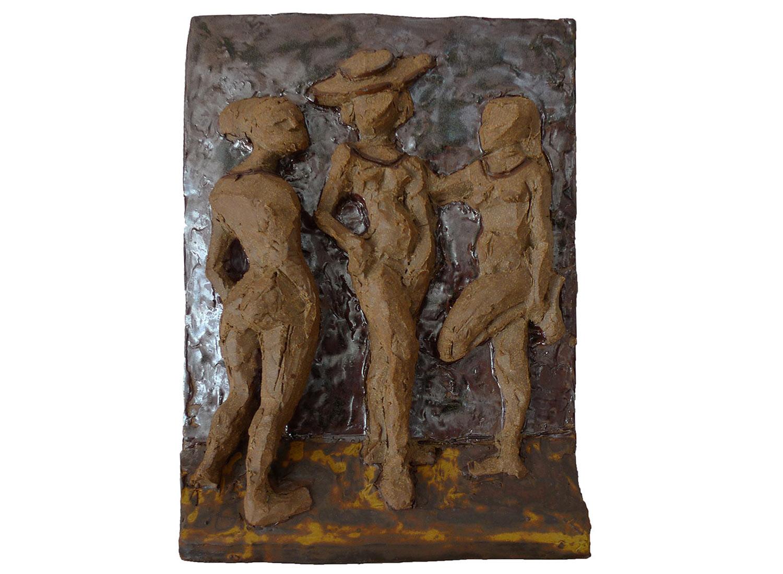 """Three Graces, 2011.   Glazed stoneware, 11"""" x 14"""" x 2"""""""