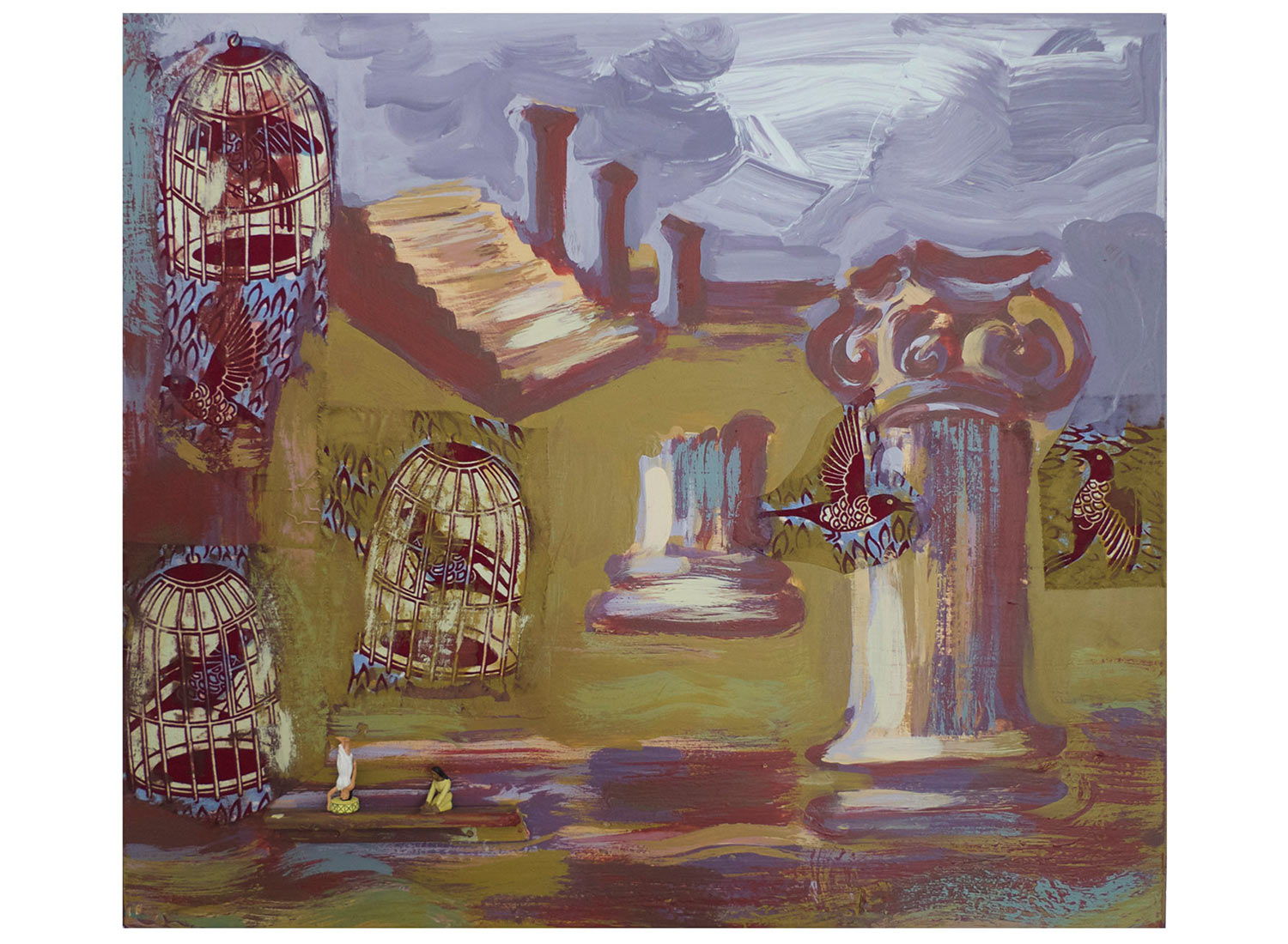 """Pompeii Now, 2014.   Pittsburgh Paint, fabric on wood, 17 inches x 17"""""""