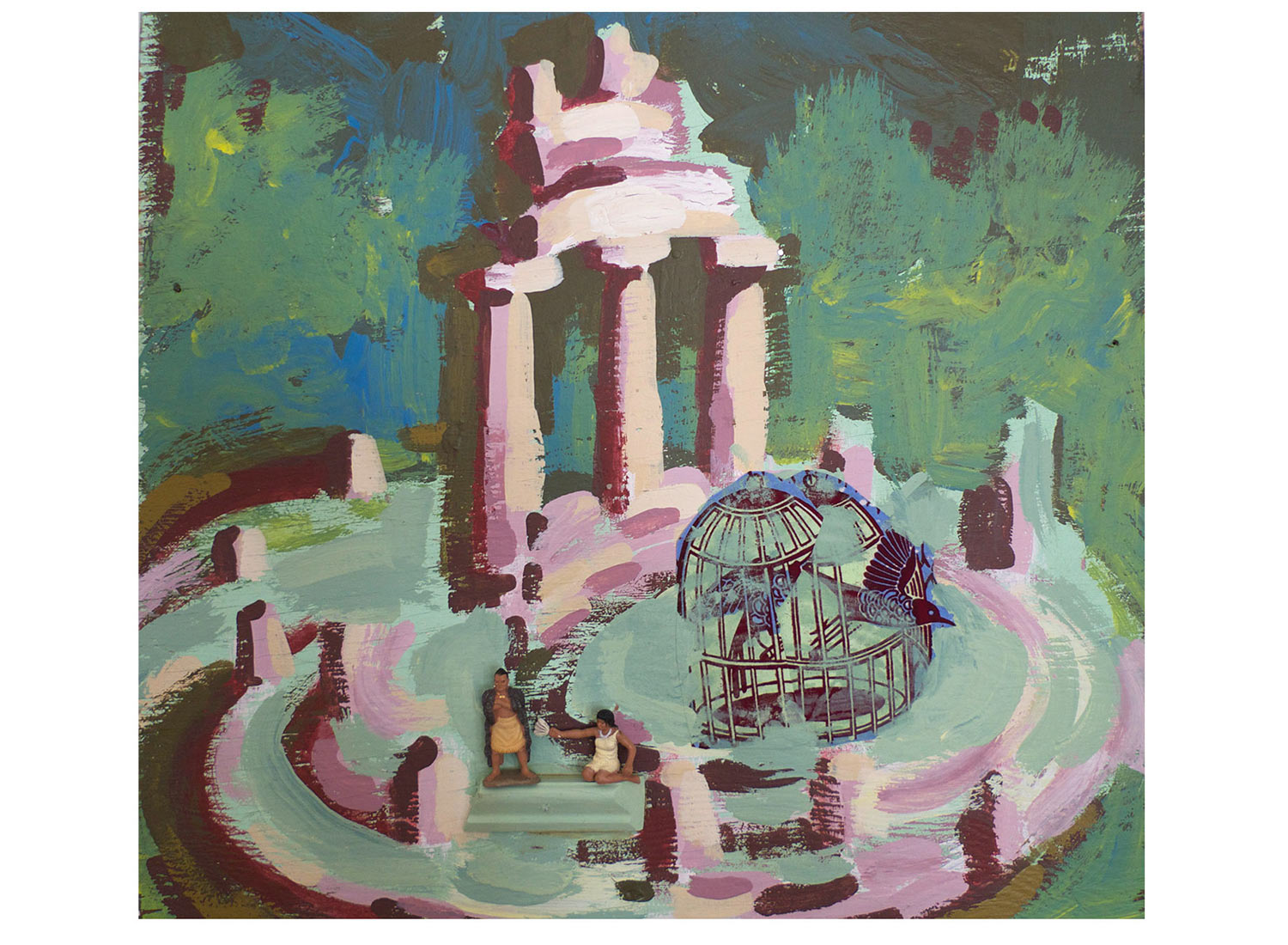 """Another Oracle @ Delphi, 2014.   Pittsburgh Paint, fabric on wood, 15"""" x 18"""""""