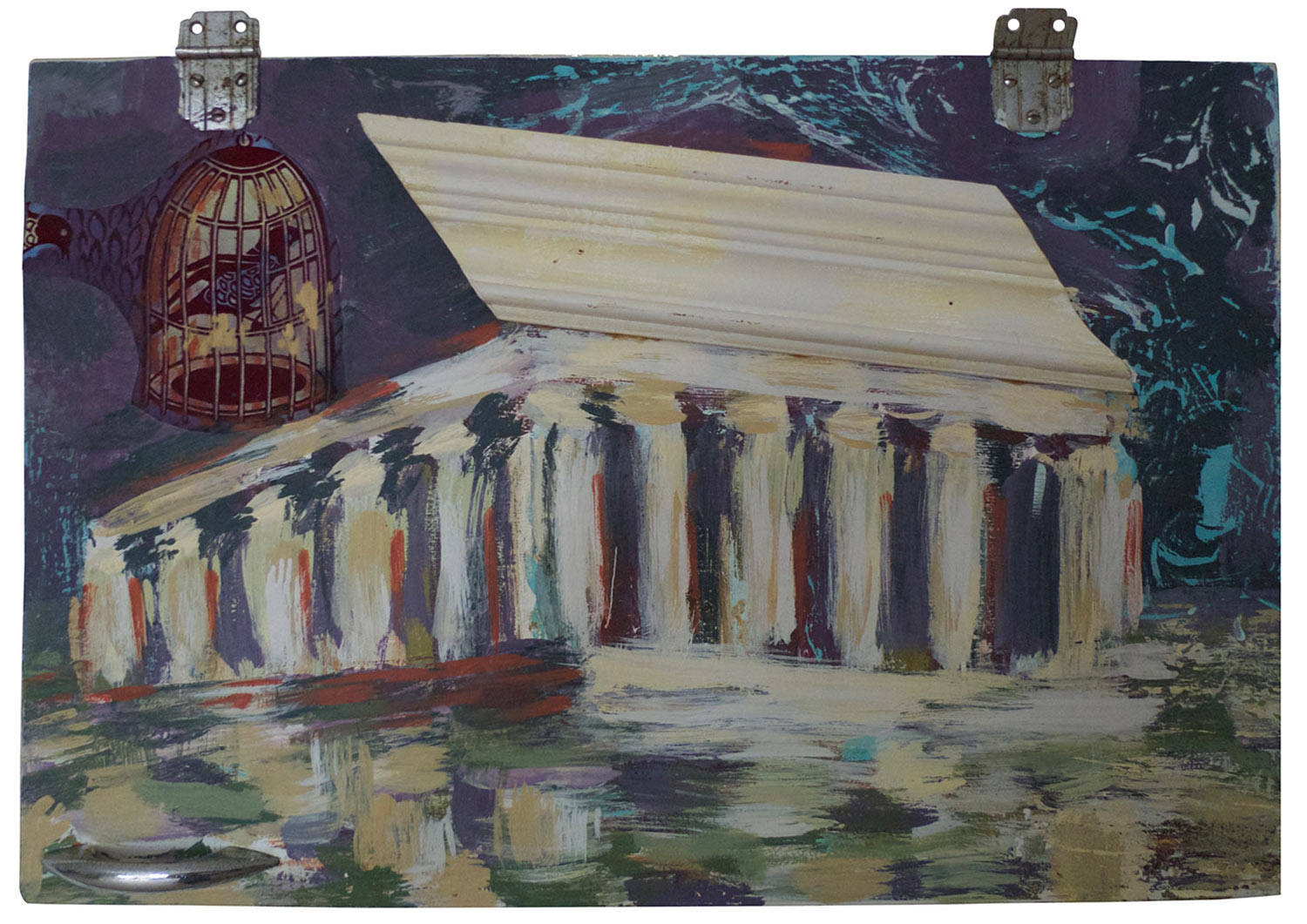 """Swallows @ the Temple in Sicily, 2015.   Pittsburgh Paint on Cabinet, Molding and Fabric, 24"""" x 16"""""""