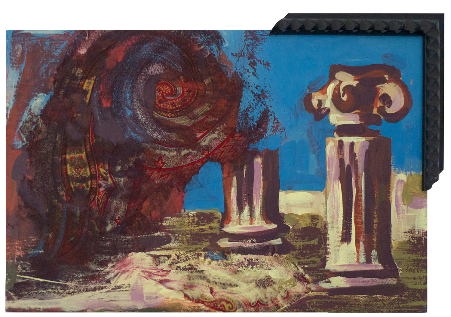 """Paisley Haboob @ Pompeii, 2014.   Pittsburgh Paint and Textile on wood, 12"""" x 9"""""""