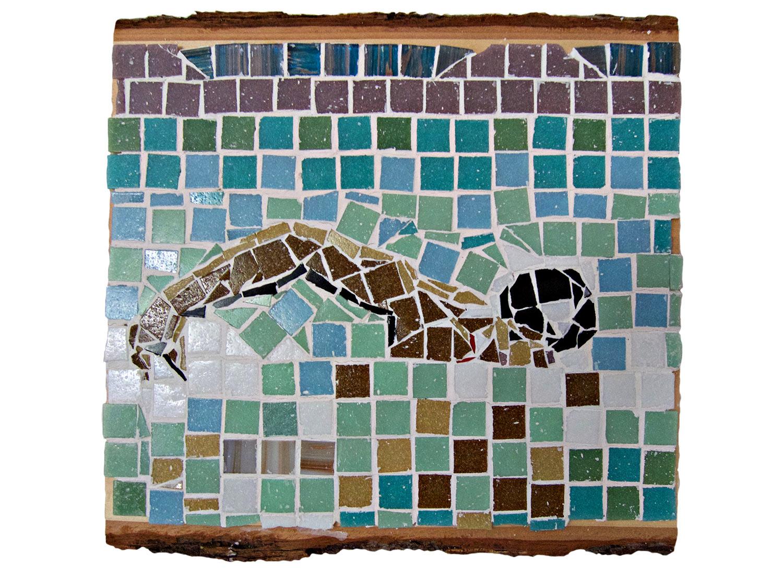 "Open Swim, 2016.   Mosaic, 13"" x 12.5"""