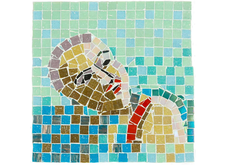 """Portrait in Water, 2017.   Mosaic on board, 13"""" x 13"""""""