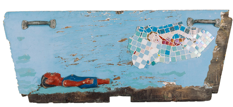 "Rescue at Sea, 2016.   Mosaic and Colon Figure, 36"" x 16"""