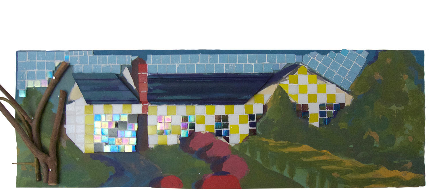 "Kay House, 2016.   Mosaic, paint and wood, 34"" x 11.5"""