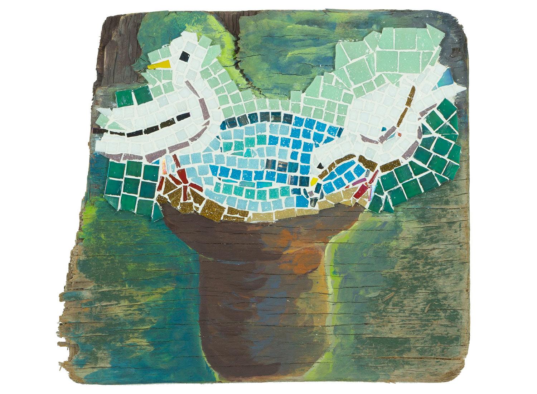 "Birdbath, 2017.   Mosaic and paint on beach wood, 11"" x 14"" x 3"""