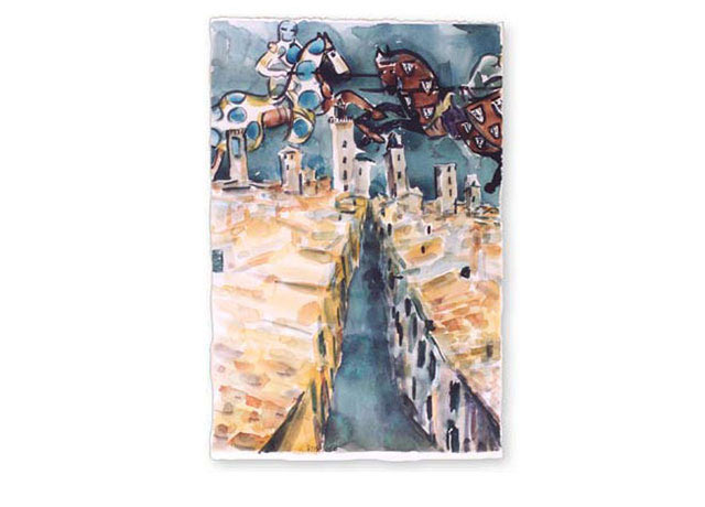 "San Gimignano, 2003.   Watercolor, 15"" x 22"""