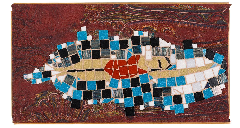 "Night Swim, 2017.  Mosaic on paisley. 16"" x 11"""