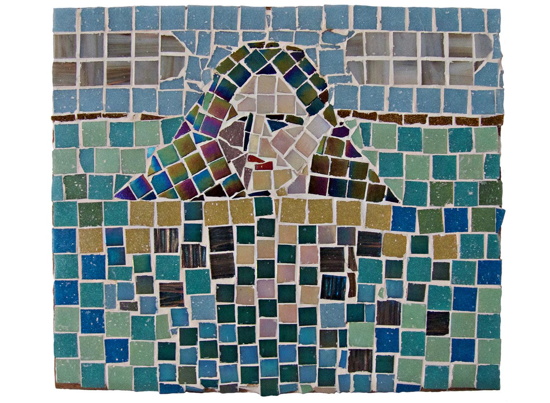 "Portrait in Water, 2016  Mosaic, 14"" x 12"""
