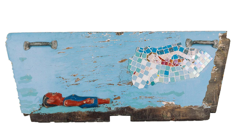 "Rescue at Sea, 2016  Mosaic and Colon Figure,36"" x 16"""