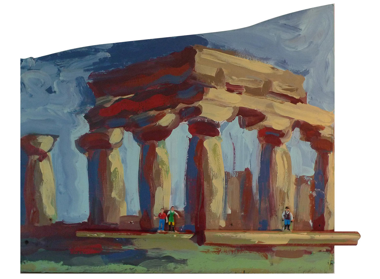 "Kansas Farm Mission @ the Temple of Poseidon in Hera, 2014.  Pittsburgh paint on wood. 21"" x 18"""