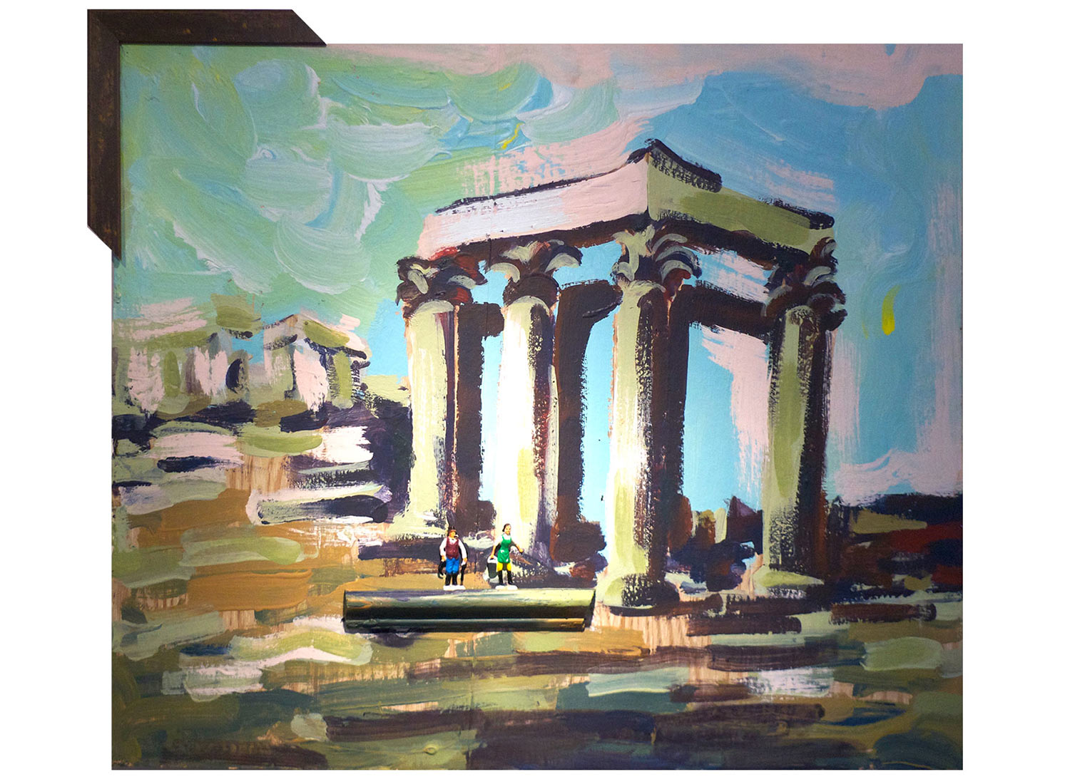 """Hoe-down @ the Temple of Zeus, 2014.  Pittsburgh paint on wood. 18"""" x 22"""""""