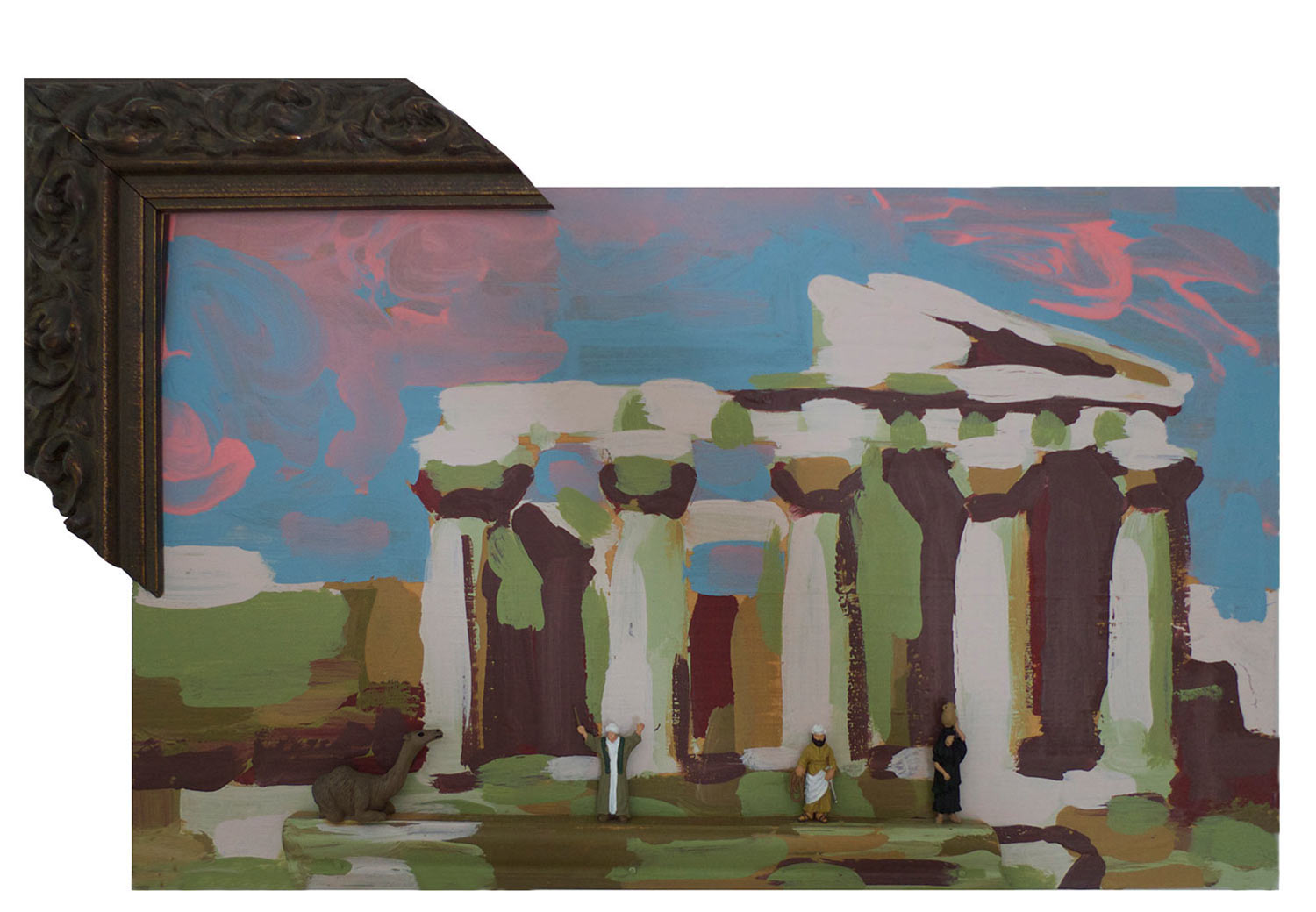 "Sacred Pilgrimage to Athens, 2014.  Pittsburgh paint on wood. 12"" x 9"""