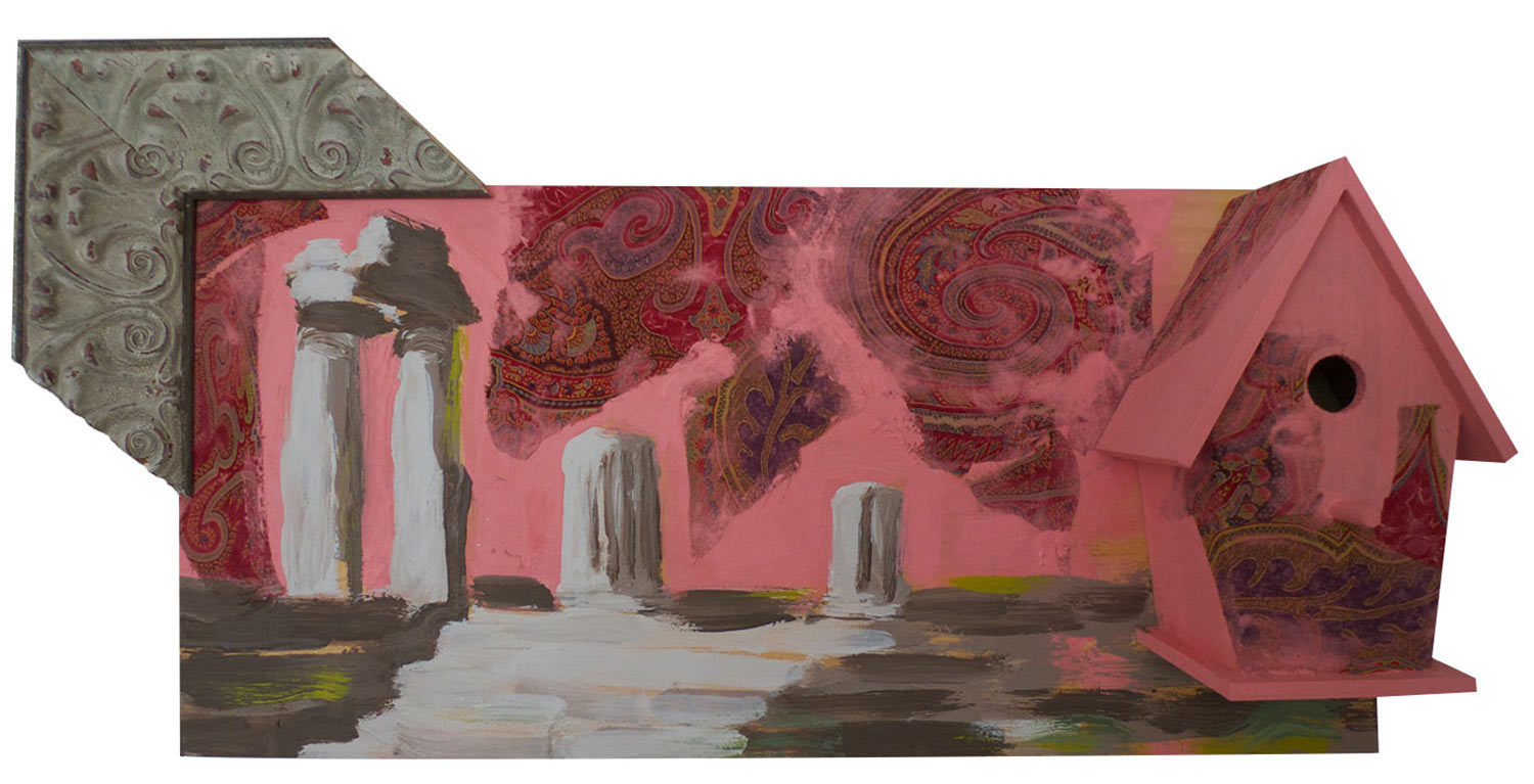 "Paisley Sunset Over Ruins , 2015.  Pittsburgh paint on wood with fabric. 15"" x 11"""