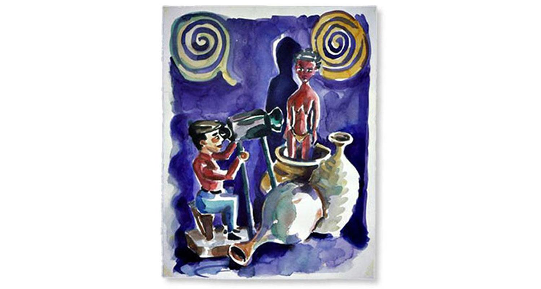 "Recording Memory, 2001.  Watercolor. 20"" x 26"""