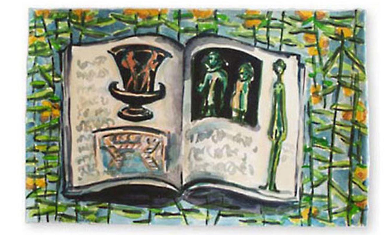 "In Volterra, 2002.  Watercolor. 22"" x 15"""