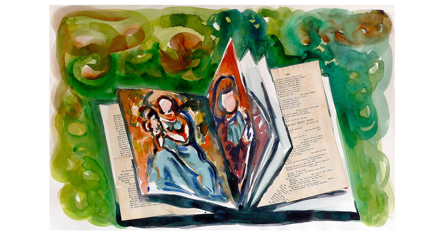 "Andrea Castango's Book, 2010.  Watercolor and collage, 22"" x 15"""