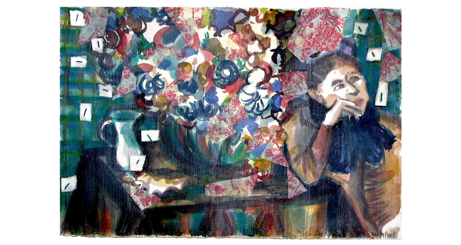 """After Degas, 2008.  Watercolor, collage and encaustic. 22"""" x 15"""""""