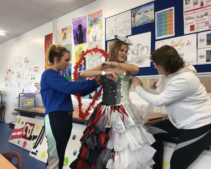 Junk Kouture - Junk Kouture is a national contest which encourages young designers in second level education to create striking couture designs and impressive works of wearable art from everyday junk that would normally find its way into the bin. This is timetabled once a week for a double in Transition Year. This year various materials have been used from leaves, coffee pods, playing cards and newspaper. The students worked on their designs after school with the help of Ms. Kelly.