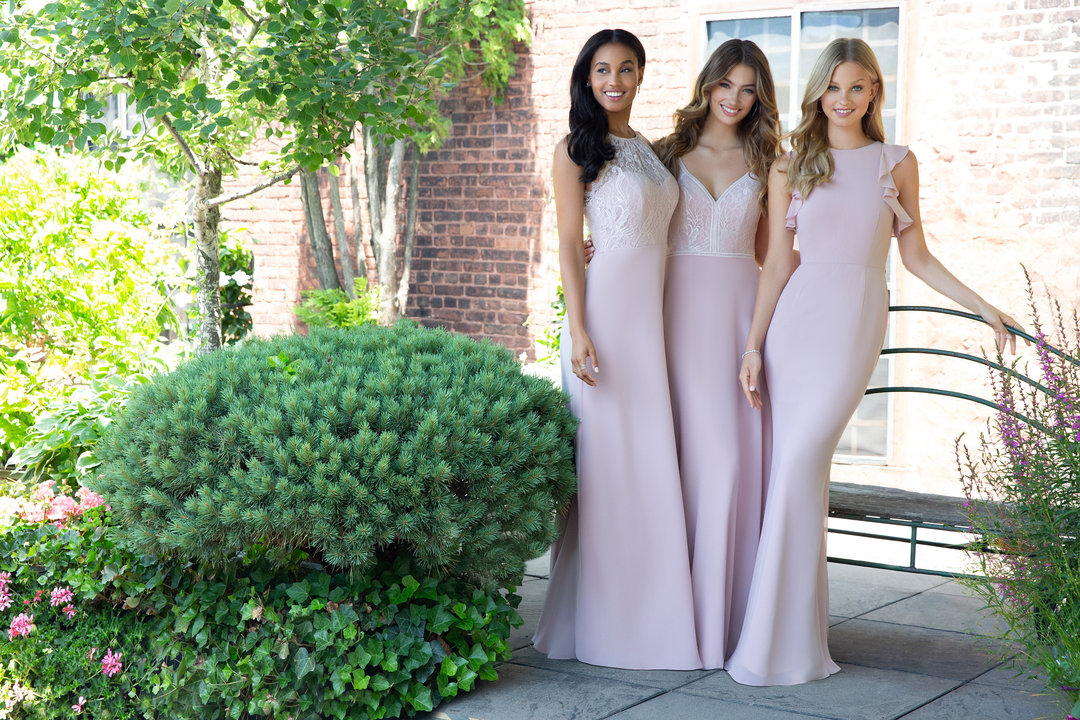 Hayley Paige Occasions Bridesmaids Styles 5861, 5864 and 5863 in dusty rose pink lace and chiffon at Gilded Social