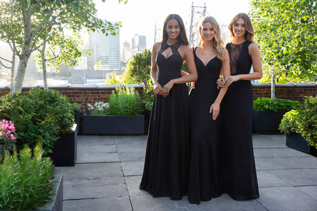 Hayley Paige Occasions Bridesmaids Styles 5867, 5864, and 5866 in black lace and chiffon at Gilded Social