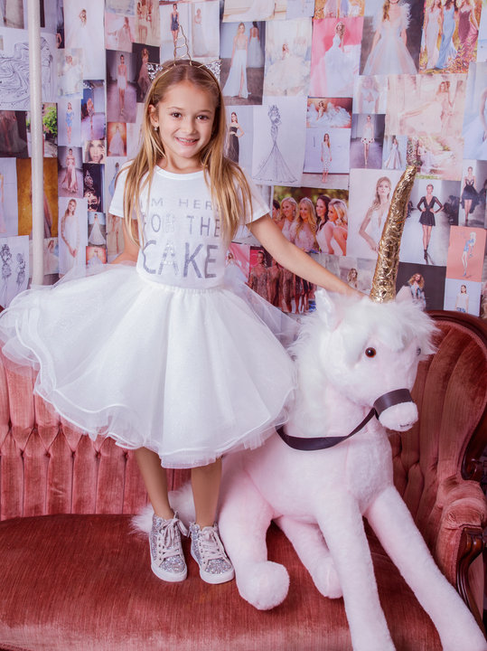 La Petite Hayley Paige flower girl Style 5826 Dot tulle shirt in alabaster with Here for the Cake tshirt at Gilded Social