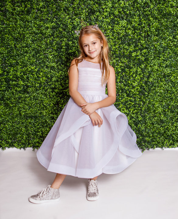 La Petite Hayley Paige flower girl Style 5823 Dora in alabaster tulle at Gilded Social
