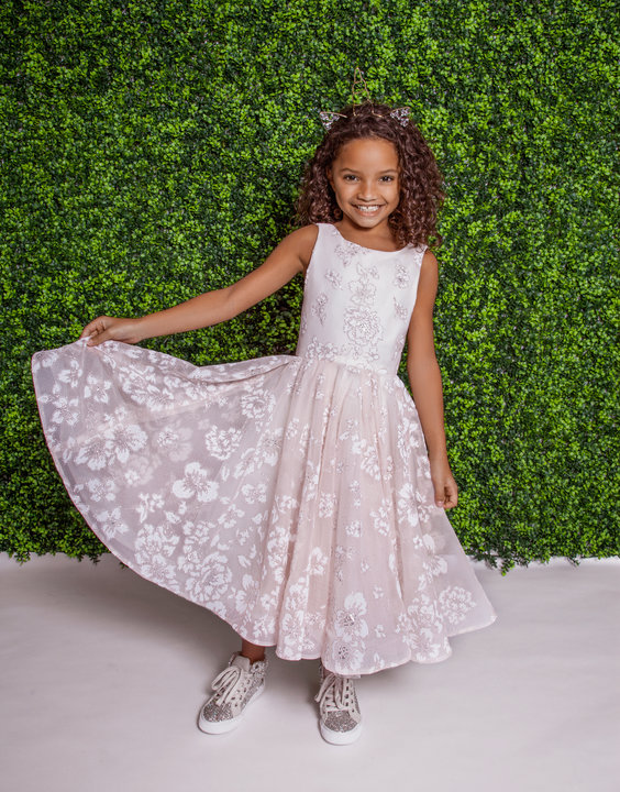 La Petite Hayley Paige flower girl Style 5822 Eloise in almond over ivory floral caviar at Gilded Social