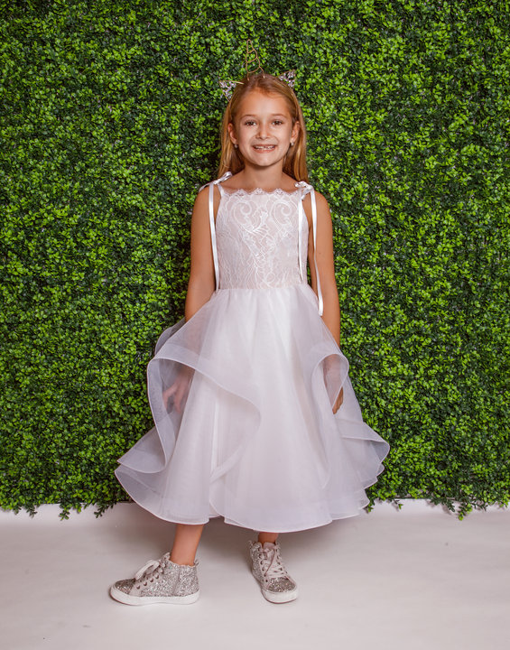 La Petite Hayley Paige flower girl Style 5825 Lillian in ivory over cashmere lace and tulle at Gilded Social