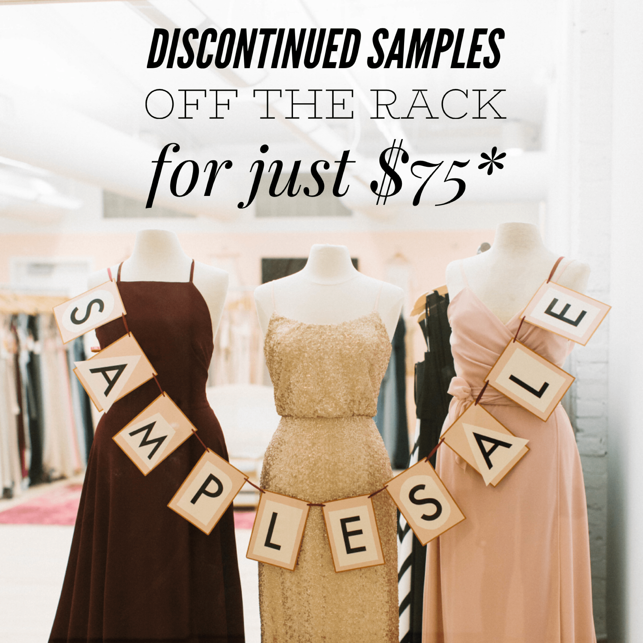 Purchase discontinued sample dresses from Gilded Social off the rack for $75