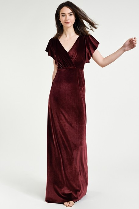 Jenny Yoo Bridesmaids Ellis in Dark Berry burgundy color stretch velvet at Gilded Social