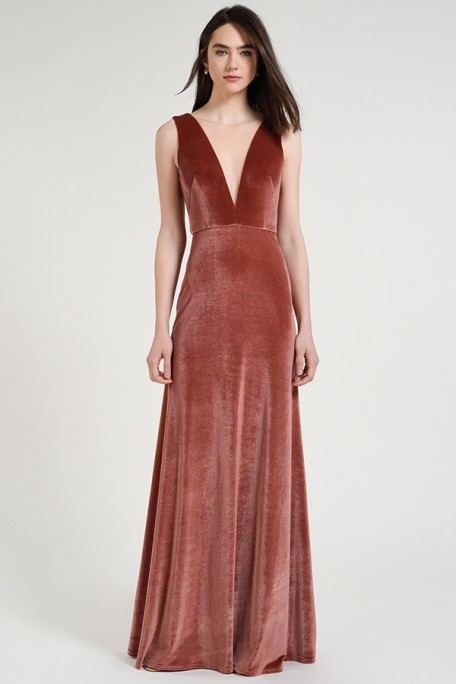 Jenny Yoo Bridesmaids Logan in English Rose dusty pink color stretch velvet at Gilded Social