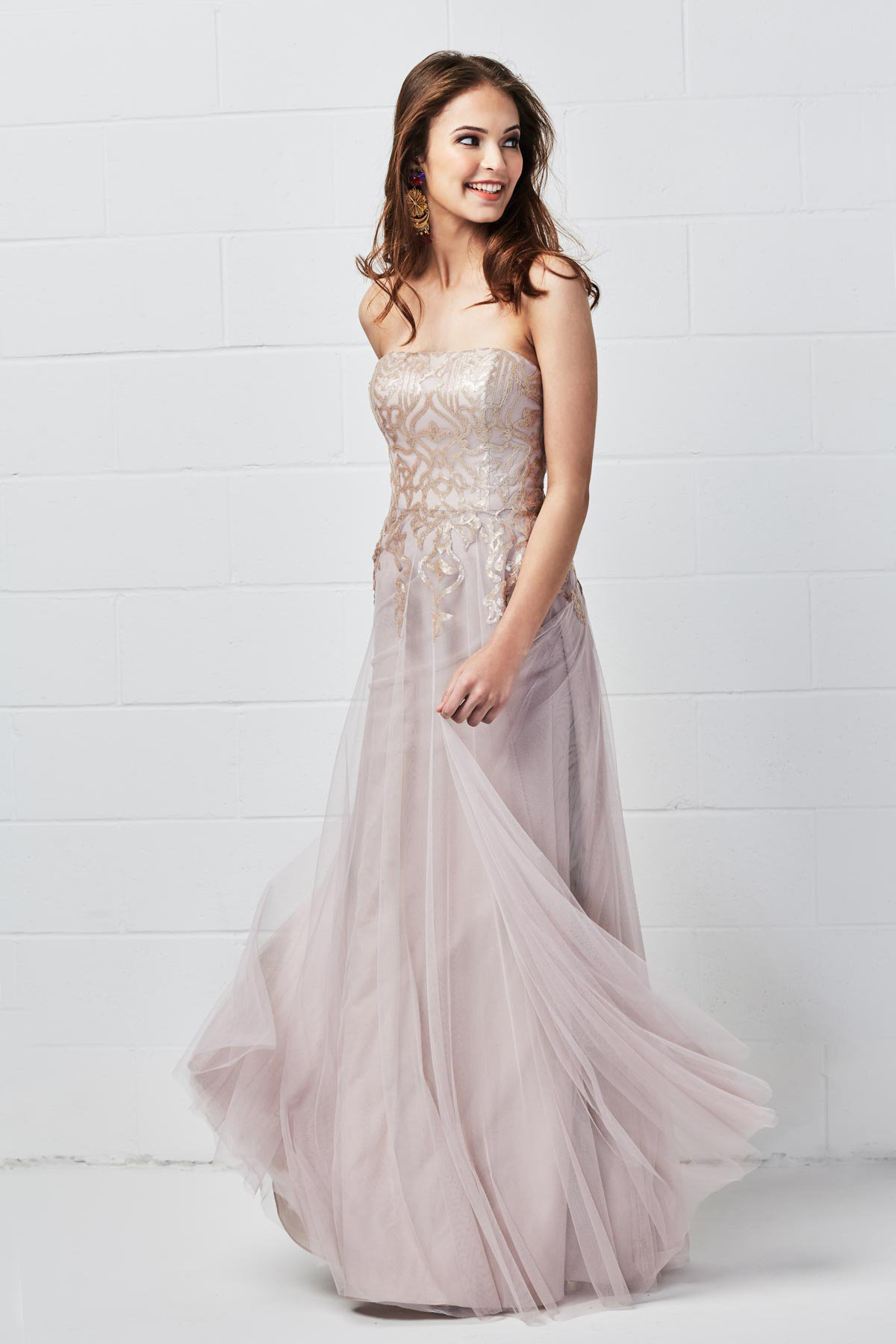 WToo Bridesmaids by Watters strapless Style 652 in latte talisa sequin and tulle at Gilded Social