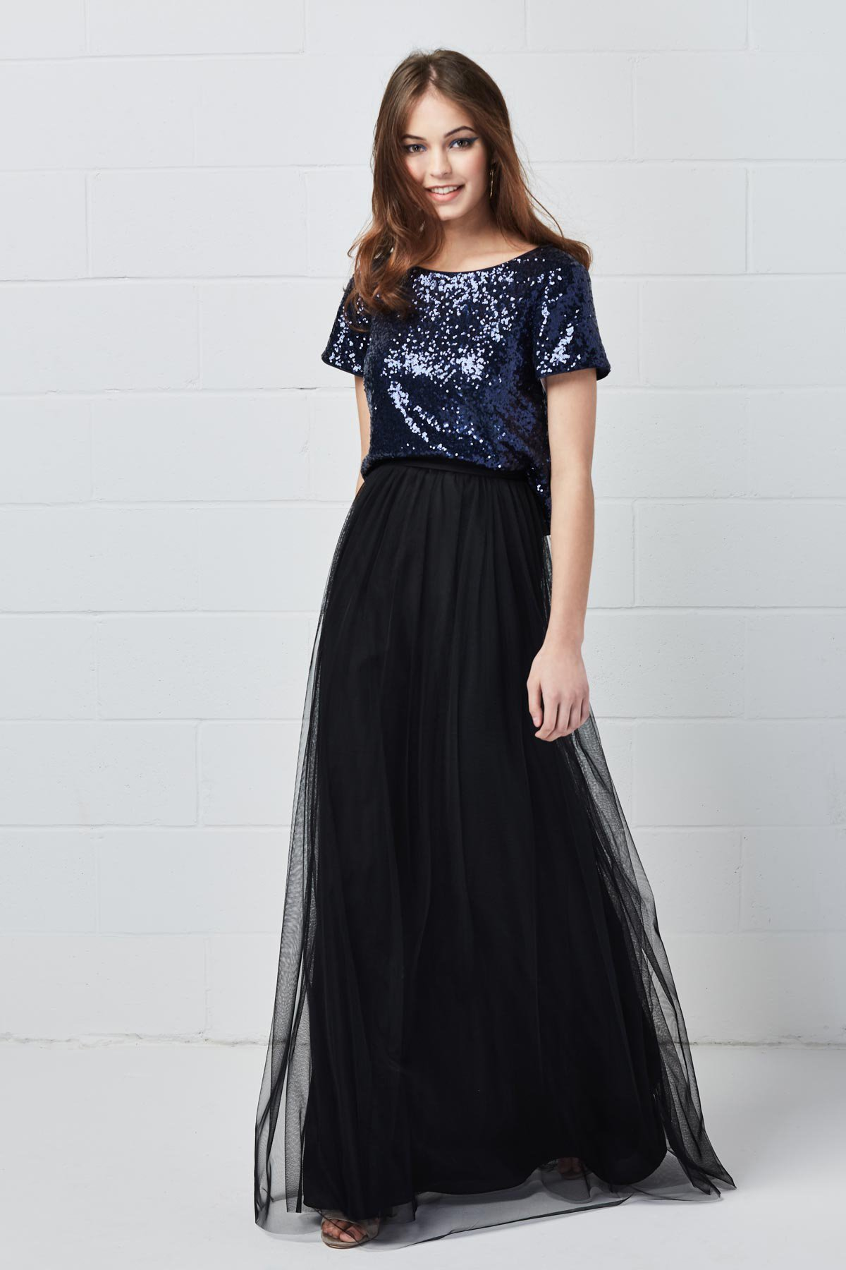 Watters Bridesmaids Style 80402 Loxley Top in Navy Blue éclat sequin at Gilded Social