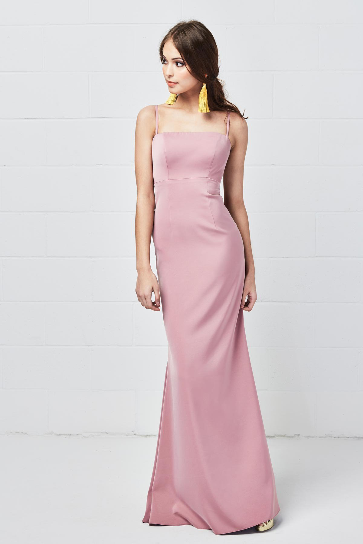 Watters Bridesmaids Style 5800 Mellie in Morganite blush pink color bellessa stretch crepe at Gilded Social