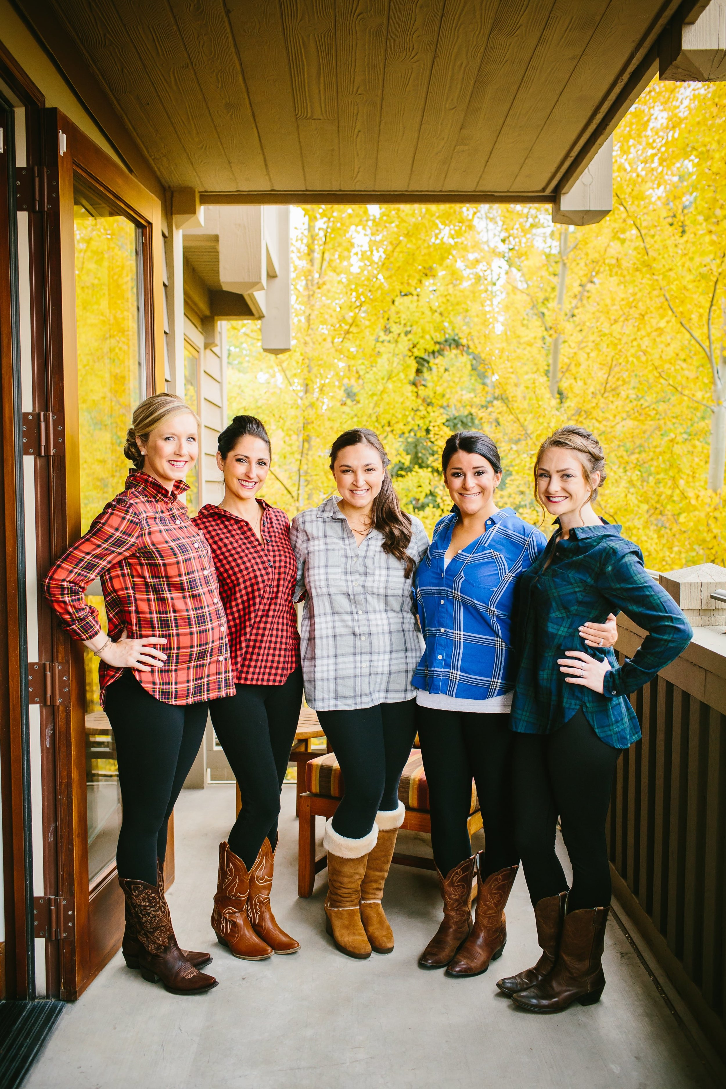 2 Tanya's bridesmaids getting ready in flannel shirts from Old Navy