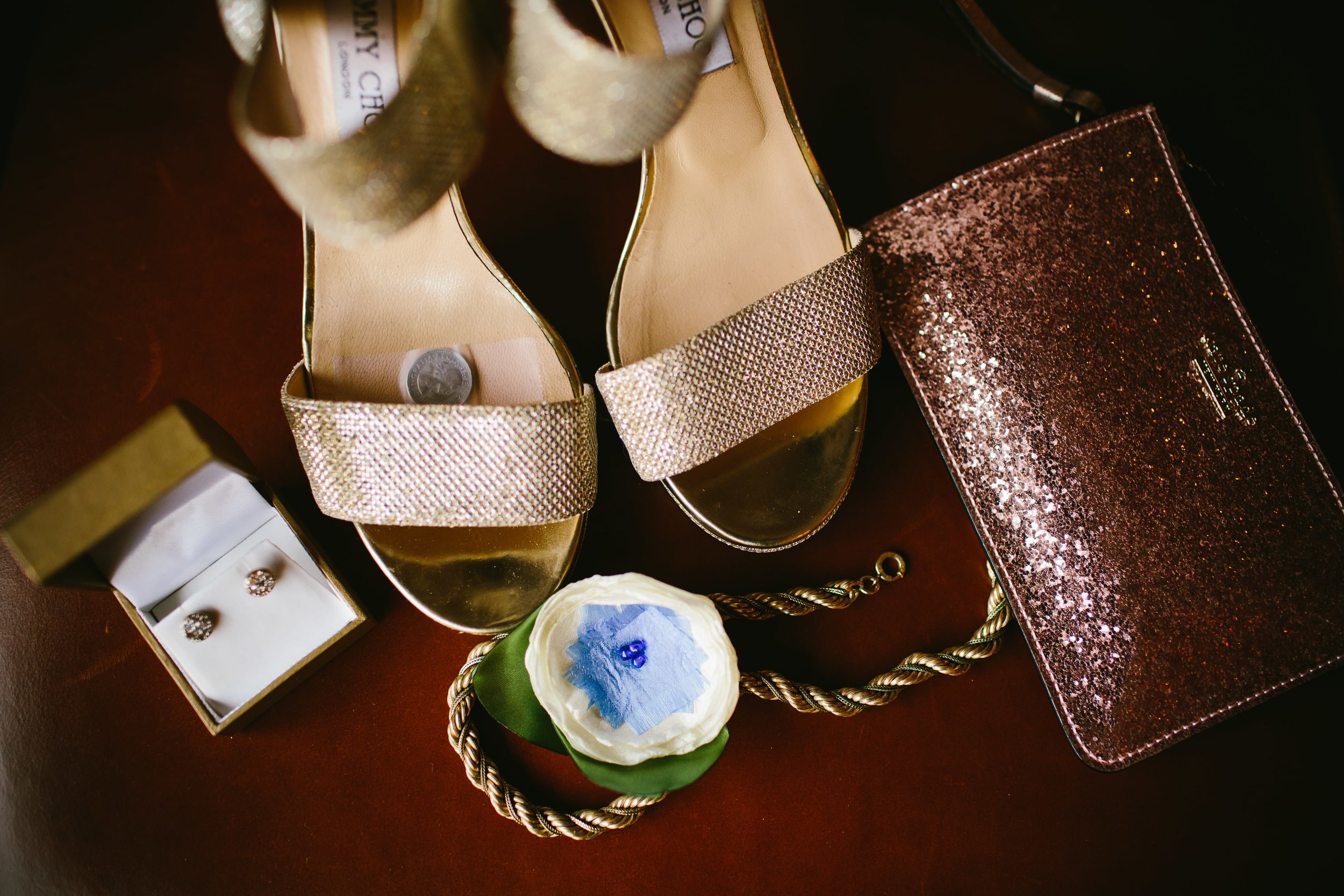 3 My Old New Borrowed Blue and Sixpence in her Jimmy Choo shoe