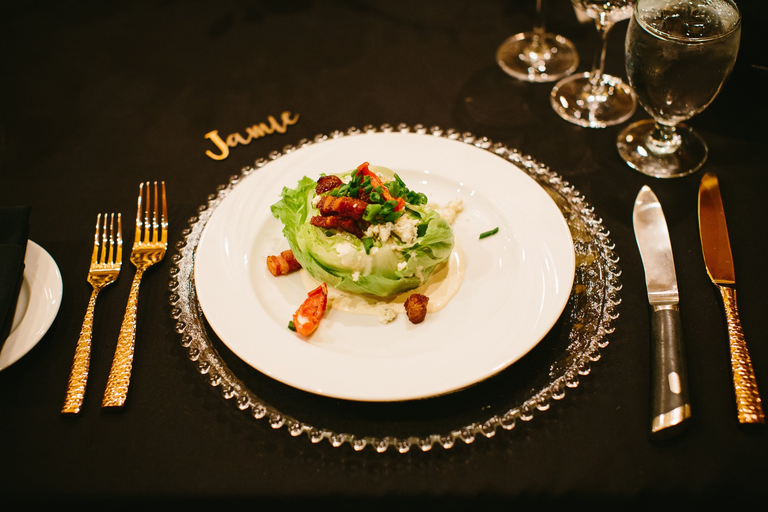 43 Western Wedge Salads were plated as guests entered the ballroom
