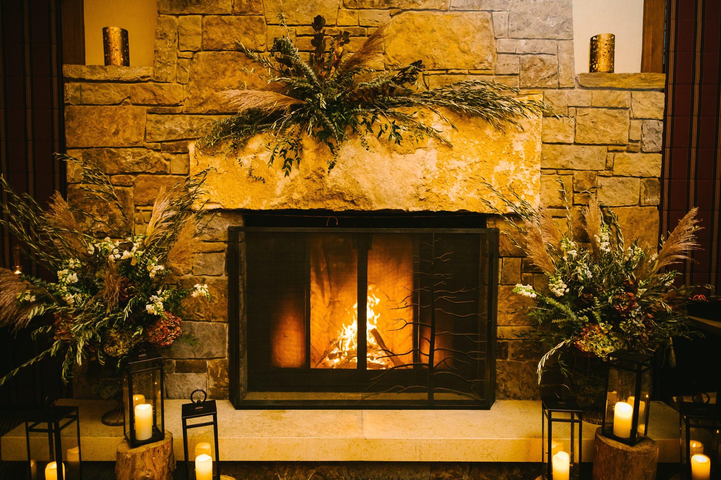 49 The gorgeous fireplace inside the Four Seasons Jackson Hole ballroom