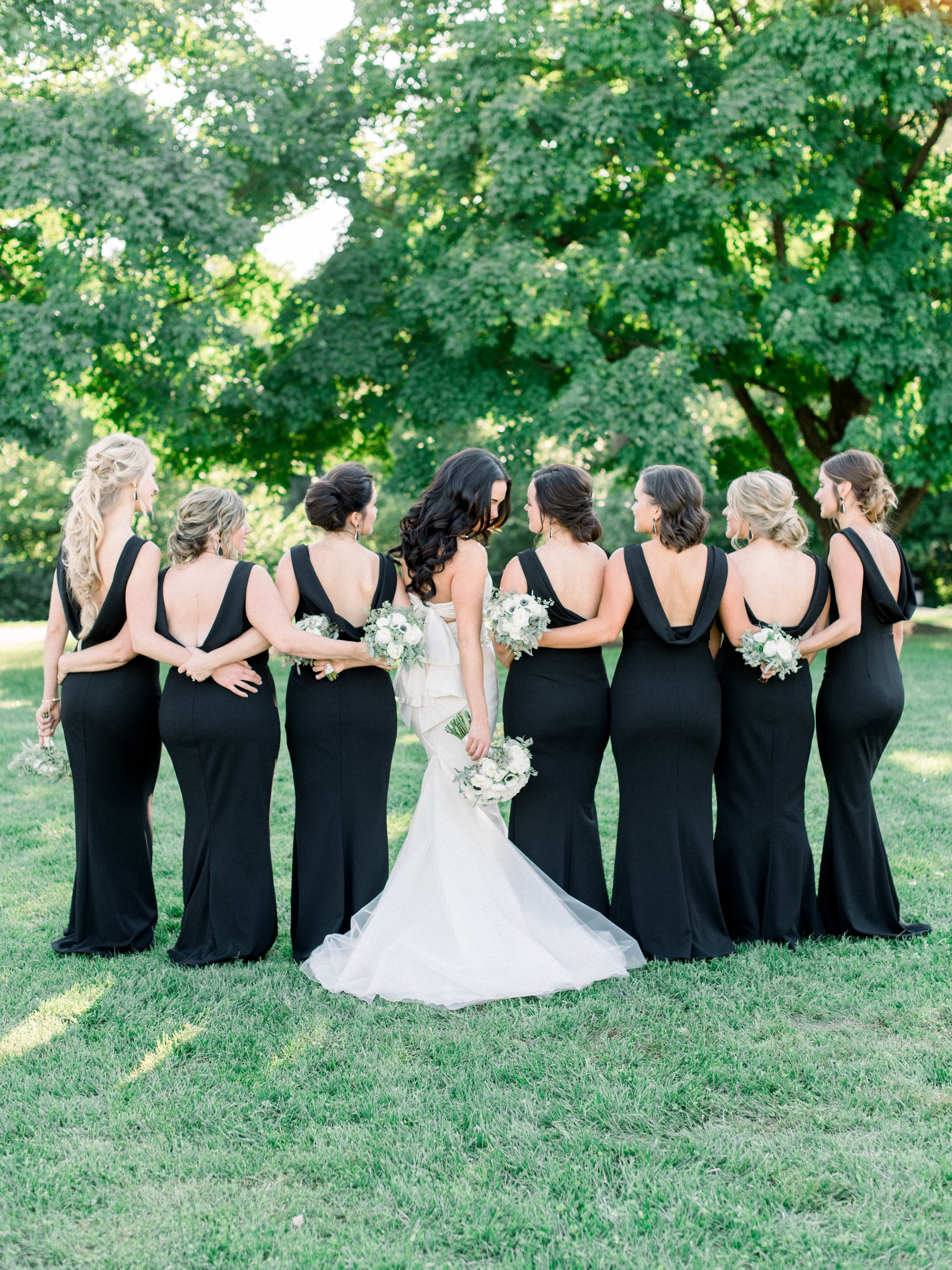 Back of group of bridesmaids wearing Vionnet dress by Katie May