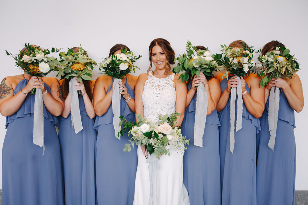 Nouvelle Amsale Bridesmaids style Cait in Blue Steel chiffon