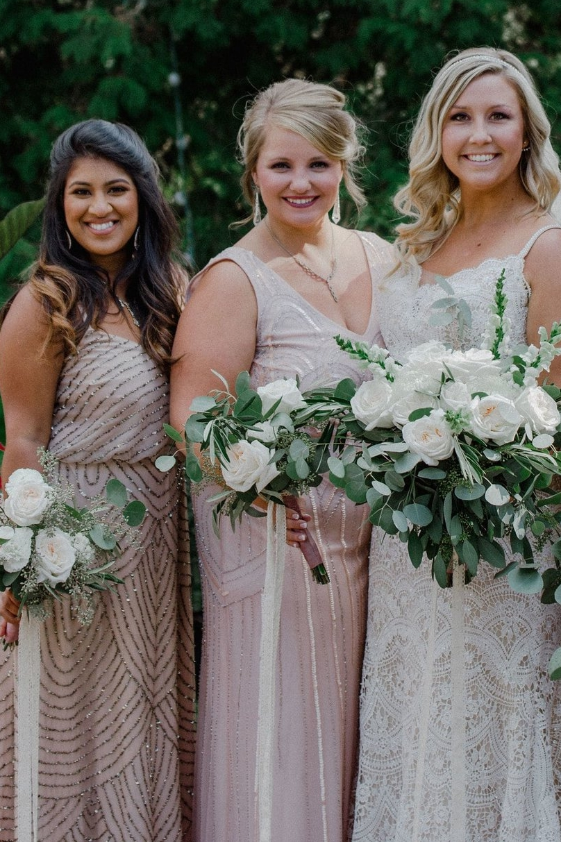 Mix and Match bridesmaids and bride in Adrianna Papell