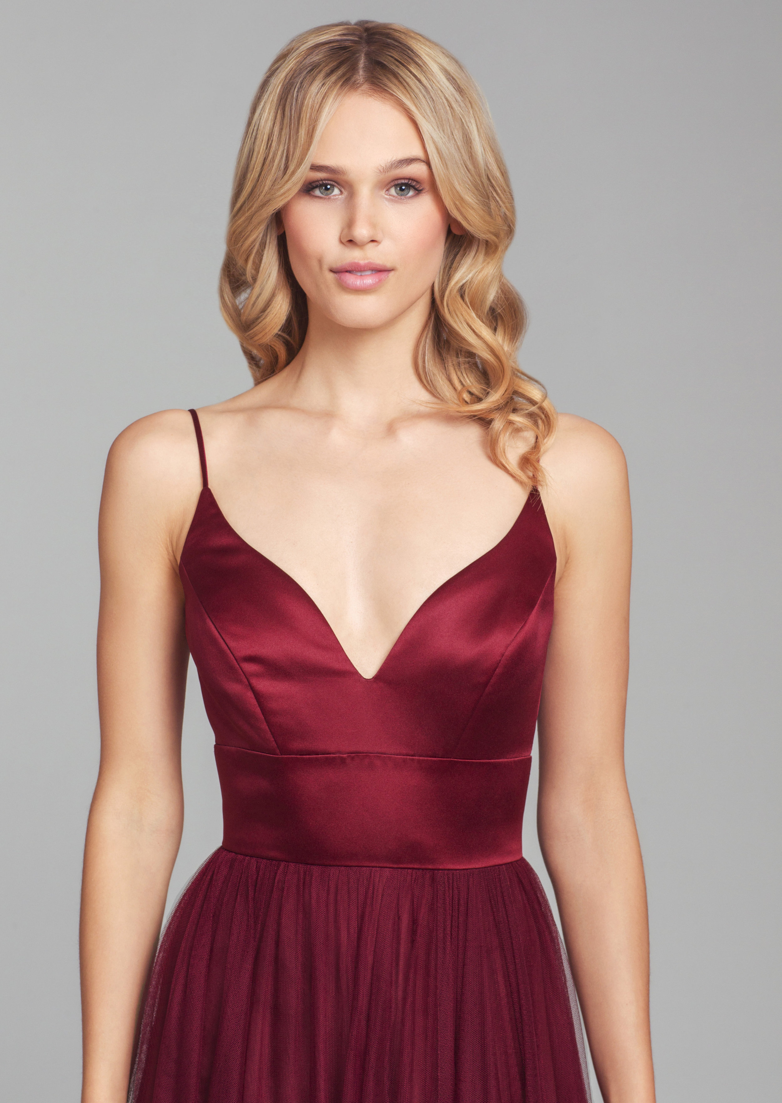 Close up of satin bodice of 5856 burgundy style by Hayley Paige